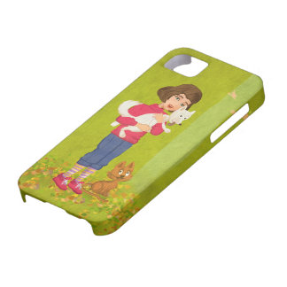 Girl and the funny Doggy iPhone 5 Universal Case iPhone 5 Case