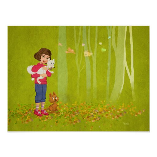 Girl and the funny Doggy Poster