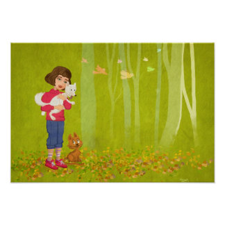 Girl and the funny Doggy Print