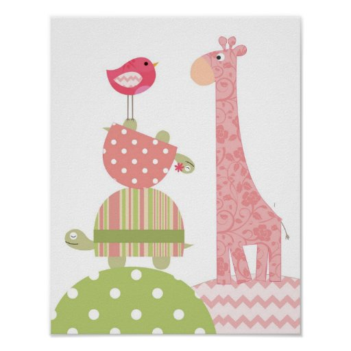 Girl animals poster for nursery and kids rooms