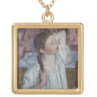 Girl Arranging Her Hair, 1886 (oil on canvas) Gold Plated Necklace