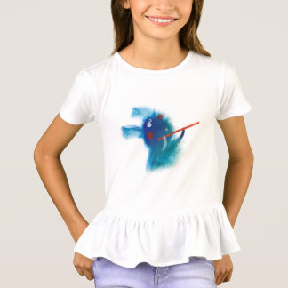 girl artist blue rabbit cartoon T-Shirt