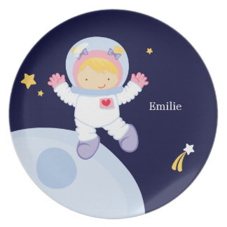 Girl Astronaut Kid's Personalized Plate