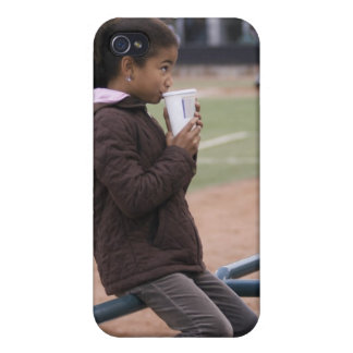 Girl at a baseball game cover for iPhone 4