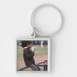 Girl at a baseball game keychain