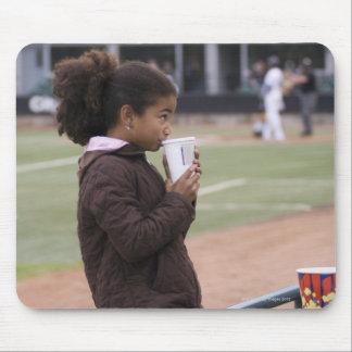 Girl at a baseball game mouse mat