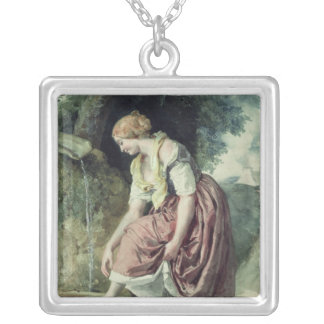 Girl at a Conduit Silver Plated Necklace