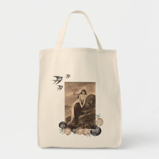 Girl at Seashore with Shells  grocery tote bag