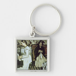 Girl at the Piano , 1868-69 Silver-Colored Square Key Ring