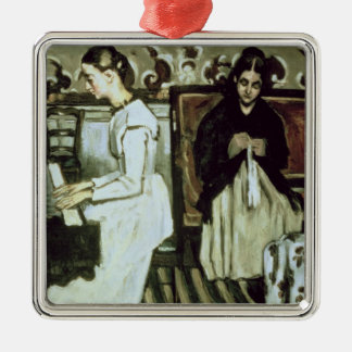 Girl at the Piano , 1868-69 Silver-Colored Square Decoration