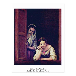 Girl At The Window By Murillo Bartolome Perez Postcard