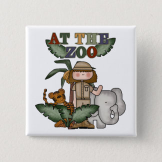 Girl At the Zoo 15 Cm Square Badge