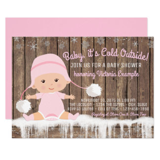 Girl Baby its Cold Outside Baby Shower Card