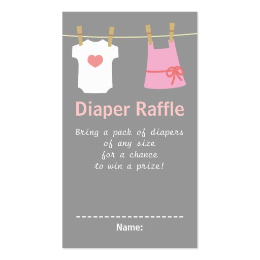 Girl Baby Shower, Clothes Diaper Raffle Tickets Business Cards