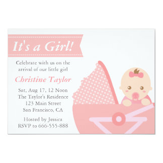"Girl Baby Shower - Cute Baby Girl in Stroller 5"" X 7"" Invitation Card"