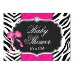 Girl Baby Shower - Elegant Zebra Print Hot Pink 13 Cm X 18 Cm Invitation Card