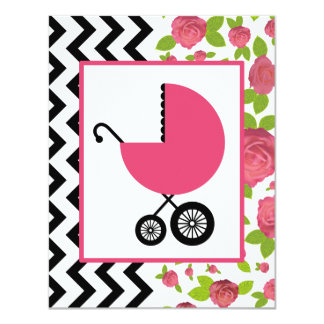Girl Baby Shower - Floral & Zigzag 4.25x5.5 Paper Invitation Card