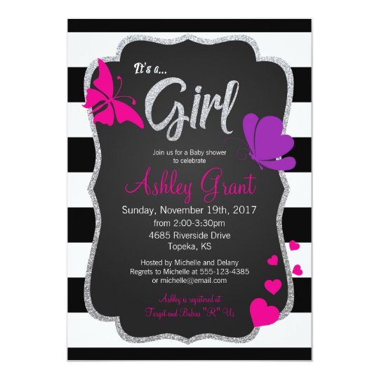 Girl Baby Shower Invitation, Chalkboard, Butterfly Card