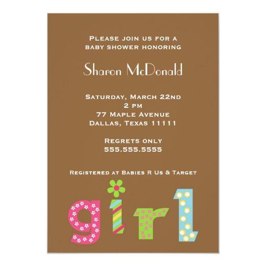 GIRL baby shower invitation mod typography