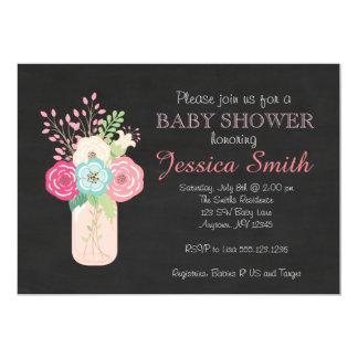 Girl Baby Shower - Mason Jar/Flowers Card