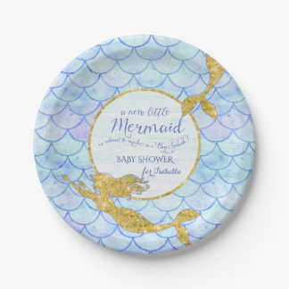 Girl Baby Shower Mermaids Gold Glitter Fish Scale Paper Plate