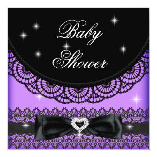 Girl Baby Shower Party Purple Black Lace Bow Personalized Invitations