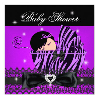 Girl Baby Shower Party Purple Black Lace Invitations