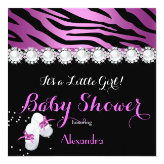 "Girl Baby Shower Pink Booties Zebra Black 5.25"" Square Invitation Card"