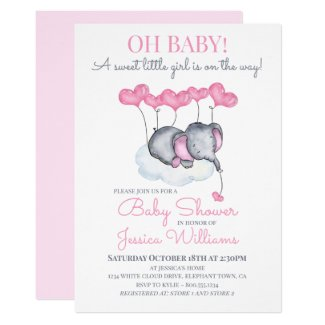 Girl Baby Shower Pink Elephant on Cloud Invitation
