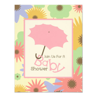 Girl Baby Shower - Pink Umbrella & Pastel Flowers Card