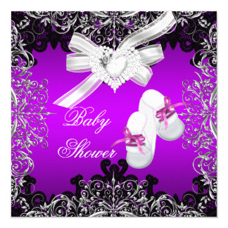 Girl Baby Shower Pretty Purple Booties Shoes Card