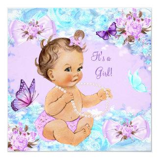 Girl Baby Shower Teal Purple Butterfly Brunette 13 Cm X 13 Cm Square Invitation Card