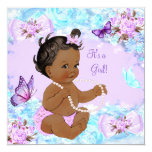 Girl Baby Shower Teal Purple Butterfly Ethnic 13 Cm X 13 Cm Square Invitation Card