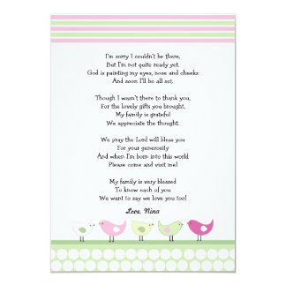 girl baby shower thank you notes pink birds 13 cm x 18 cm invitation