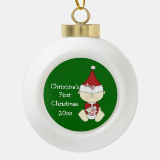 Girl Baby's First Christmas-Customize Name/Year Ceramic Ball Christmas Ornament