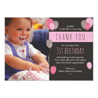 Girl balloon birthday thank you card