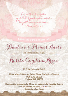 Girl Baptism 1st Birthday Invites In Spanish