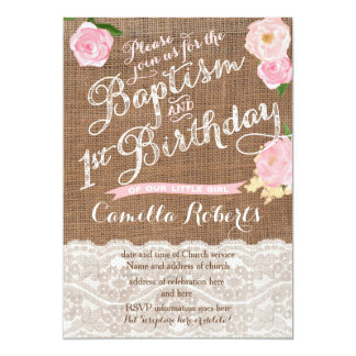 girl baptism birthday invitations, pink baptism card