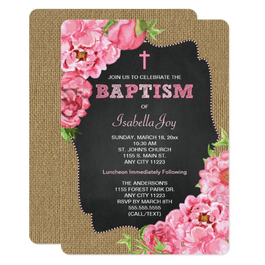 Girl Baptism Invites, pink watercolor floral Card
