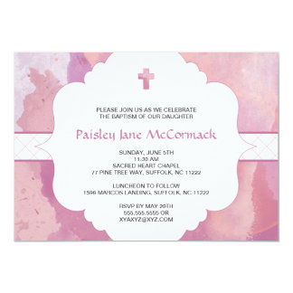 Girl baptism or first communion invite pink purple