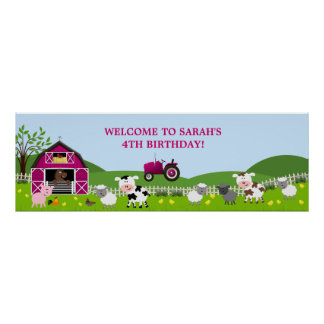Girl Barnyard Farm Animals Birthday Banner Poster