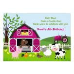 Girl Barnyard Farm Animals Birthday Invitations Custom Invites