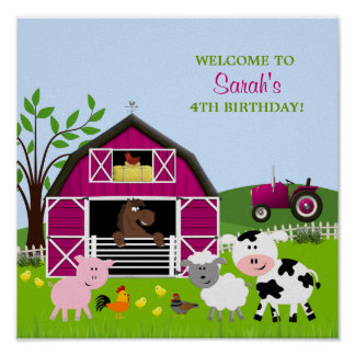 Girl Barnyard Farm Animals Birthday Poster