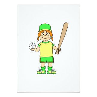 Girl Baseball 13 Cm X 18 Cm Invitation Card