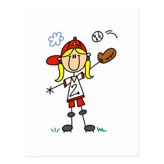 Girl Baseball Player Tshirts and Gifts Post Cards