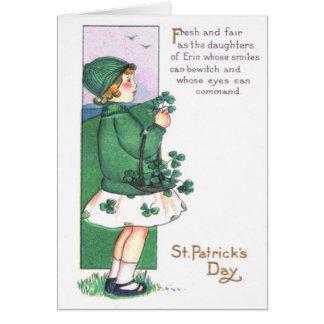 Girl Basket Shamrocks Card