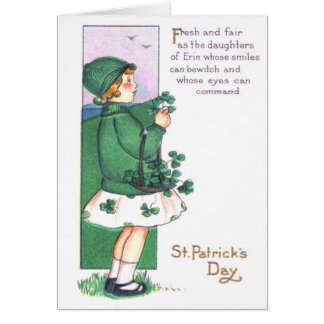 Girl Basket Shamrocks Greeting Card
