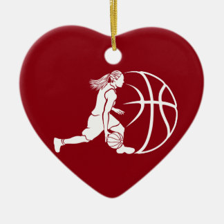 Girl Basketball Silhouette Dribbling Christmas Ornament