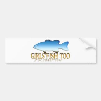 GIRL BASS FISHING BUMPER STICKER