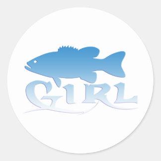 GIRL BASS FISHING STICKERS